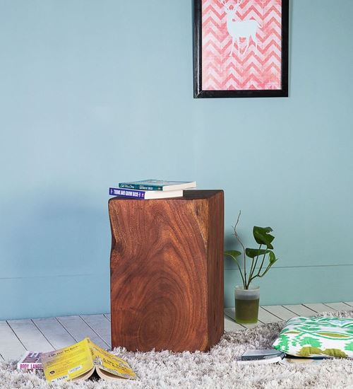 Solid Wood Log Side Table