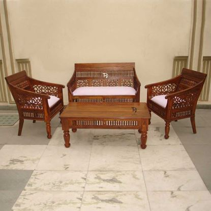 Buy Solid Wood Furniture Rajasthani Sofa Set
