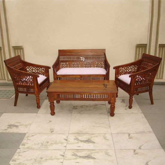 Buy Solid Wood Furniture Rajasthani Sofa Set
