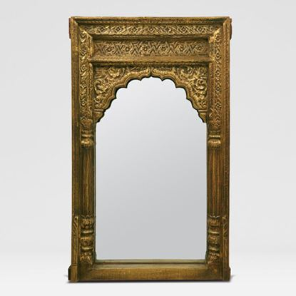 Carving mirror in golden Finish