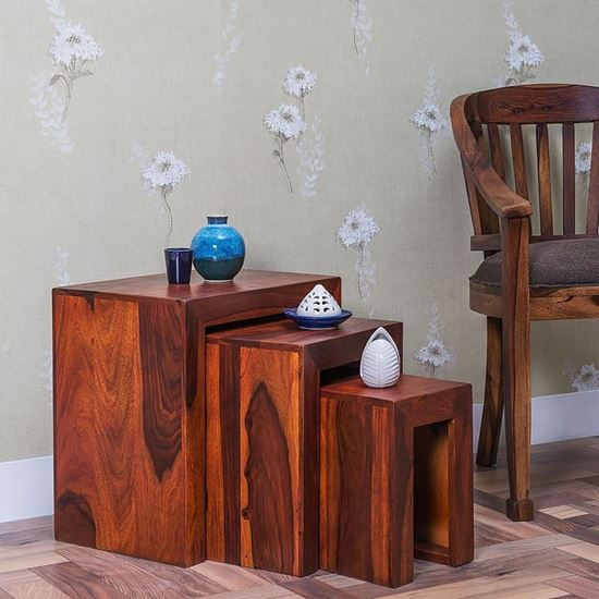 Solid wood stool set